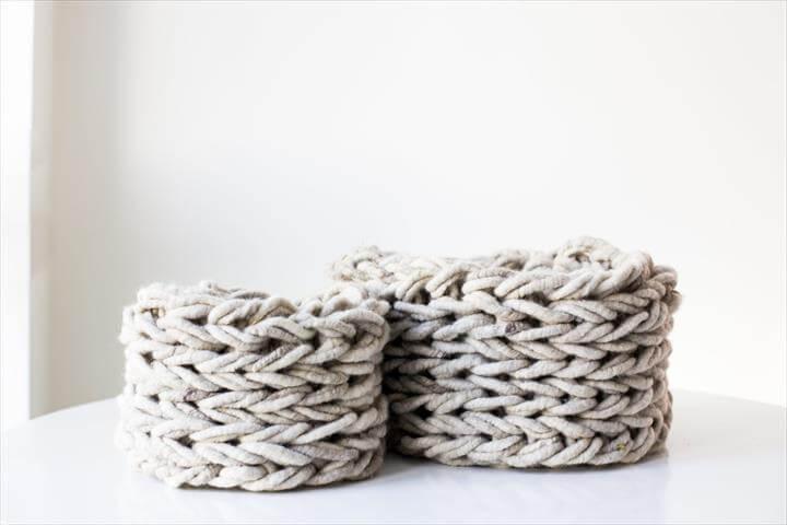 Arm Knit Basket Pattern