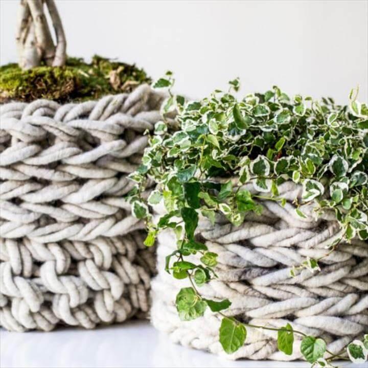 Arm Knit Baskets Pattern
