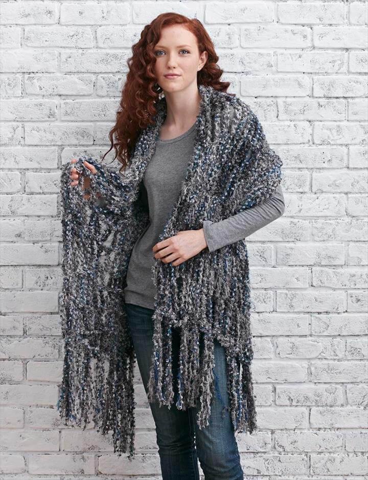 Arm Knit Fringed Wrap - Knitting Patterns - Patterns