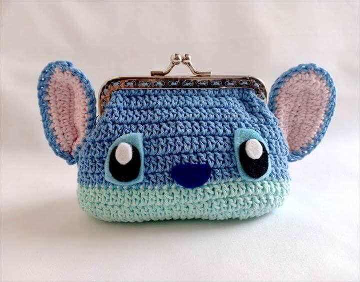 "Baby Crochet Patterns Tutorial DIY crochet coin purse with frame ""lilo and stitch"" – DIY Baby Knitting"