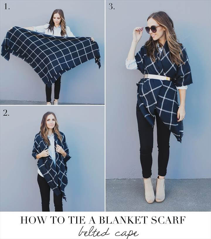 belted cape blanket scarf