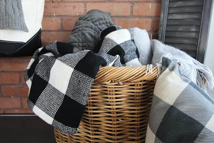 This easy DIY buffalo check throw blanket is a cozy, affordable way to update the