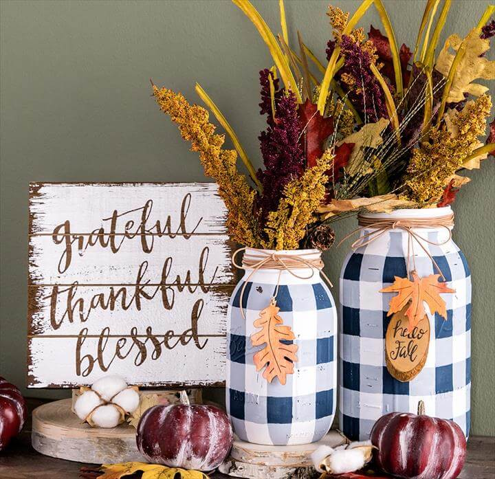 DIY Fall Mason Jar Decor - Buffalo Check Mason Jars with Fall Accents
