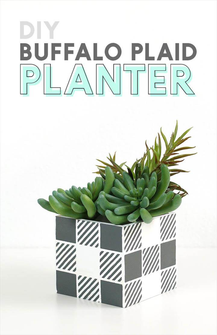 DIY buffalo plaid planter made with DIY plaid stencil