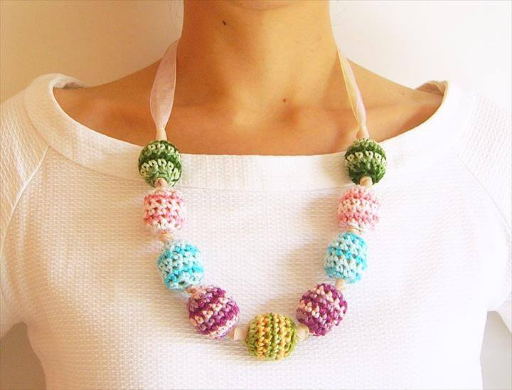 diy craft, crochet necklace