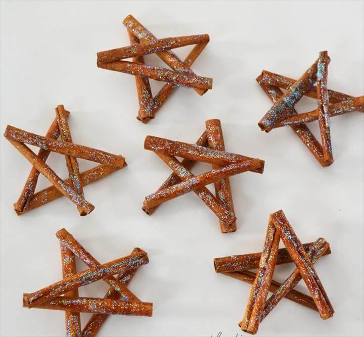 Glittery Cinnamon Stick Star Ornaments