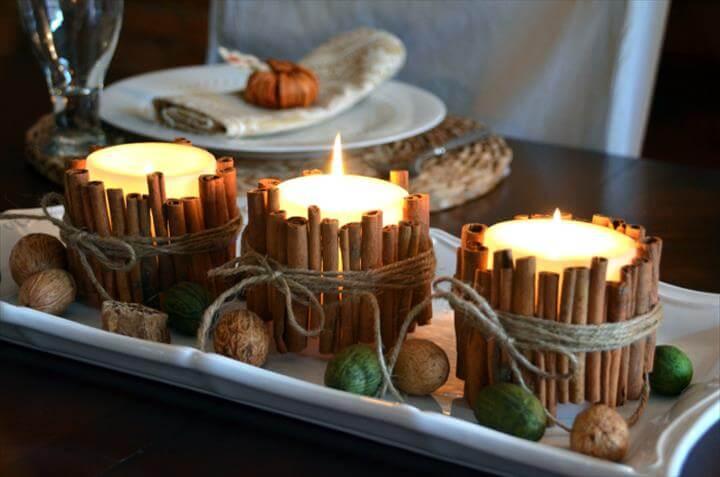 Cinnamon Stick Candles {fall ideas}