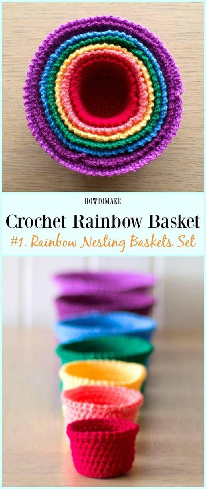 Rainbow Nesting Baskets Set Free Crochet Pattern