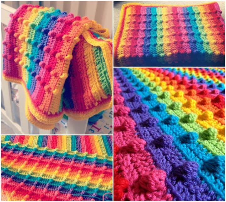 Bumpy Rainbow Blanket - Free Pattern - Find Fun Art Projects to Do at Home and Arts and Crafts Ideas