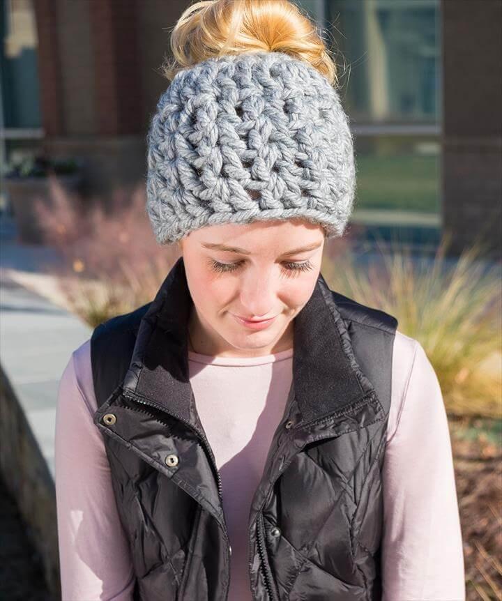 On-Trend Messy Bun Hat Free Crochet Pattern