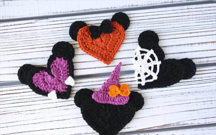Halloween Mickey and Minnie Mouse Heart Shaped Appliques