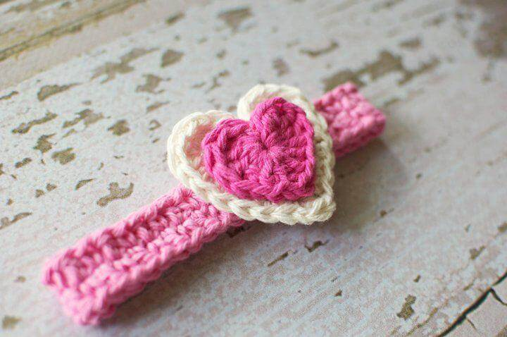 Crocheted heart headband.