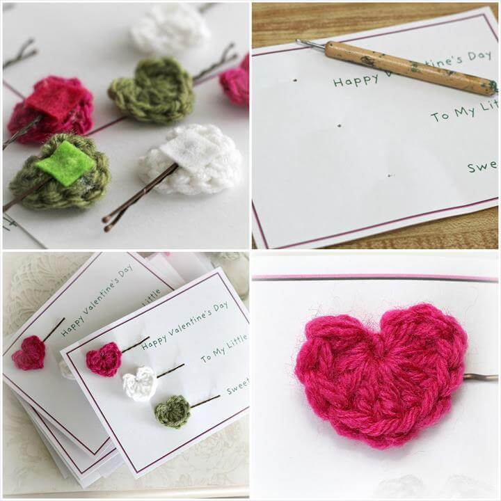 Crochet Heart Bobby Pins