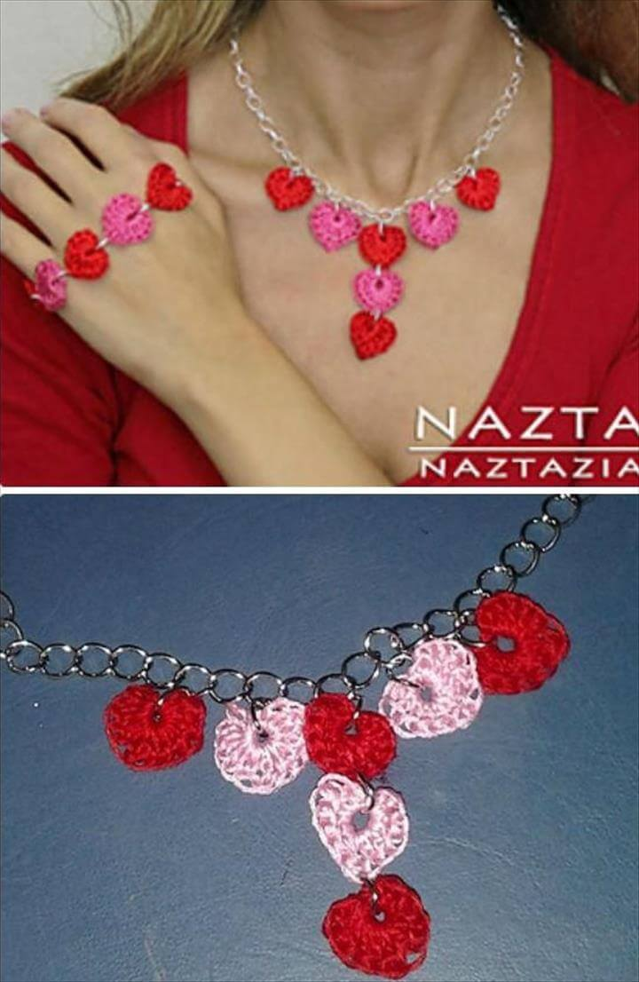 Crochet Heart Necklace Free Pattern, Crochet Valentine Heart Gift Ideas Free Patterns