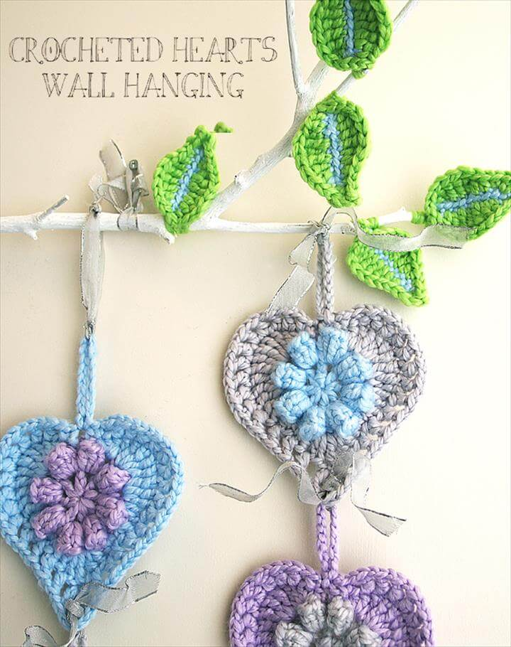 Crocheted hearts wall hanging close up