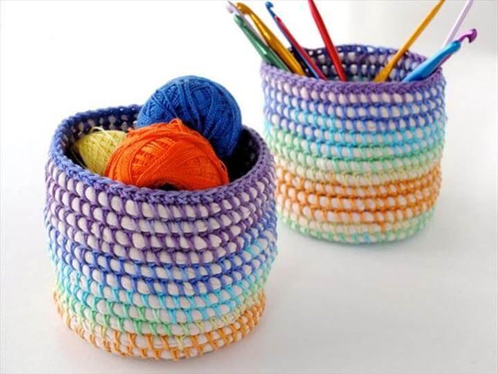 rainbow baskets, crochet baskets, storage ideas
