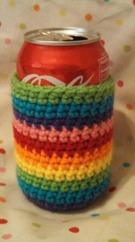 Crochet Rainbow Can Cozy Bottle Cozy