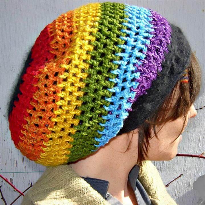 Crochet Rainbow Too Dreadlock Tam – Free Pattern -