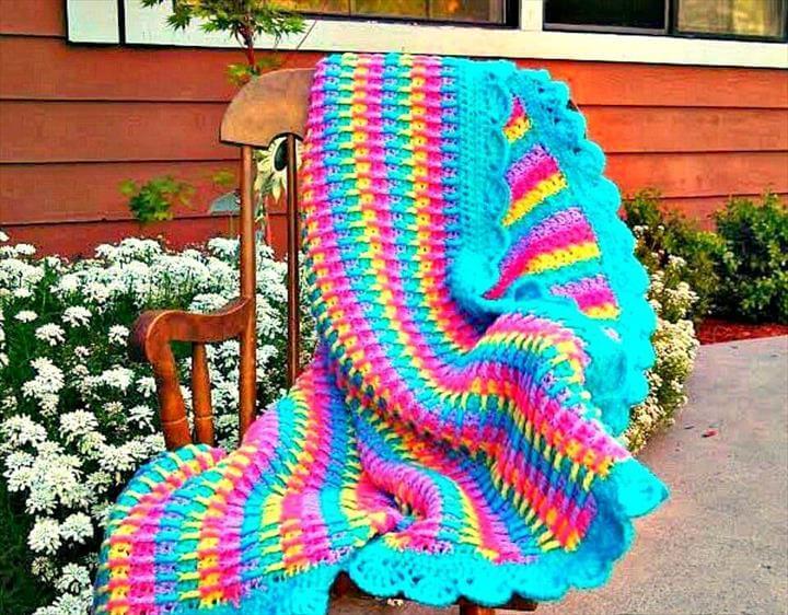 Easy Crochet Rainbow Dash Baby Blanket - Free Pattern