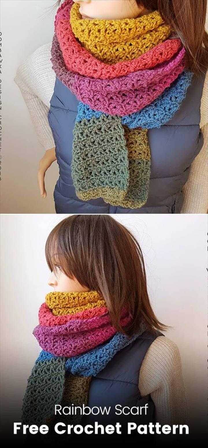 Rainbow Scarf Free Crochet Pattern