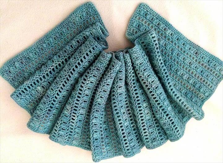 crochet airy puffy scarf pattern