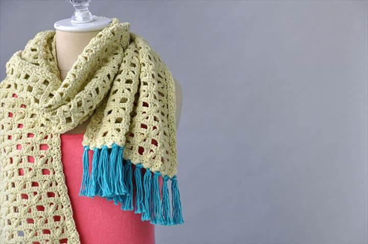 Cotton Crochet Scarf Free Pattern