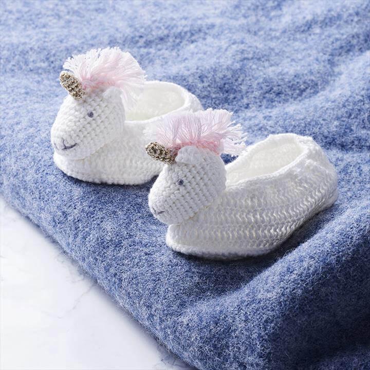 Crochet Unicorn Baby Booties