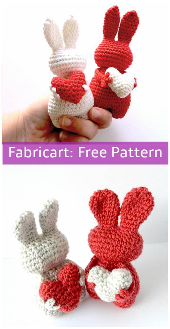 Crochet Valentine Heart Bunny Toy
