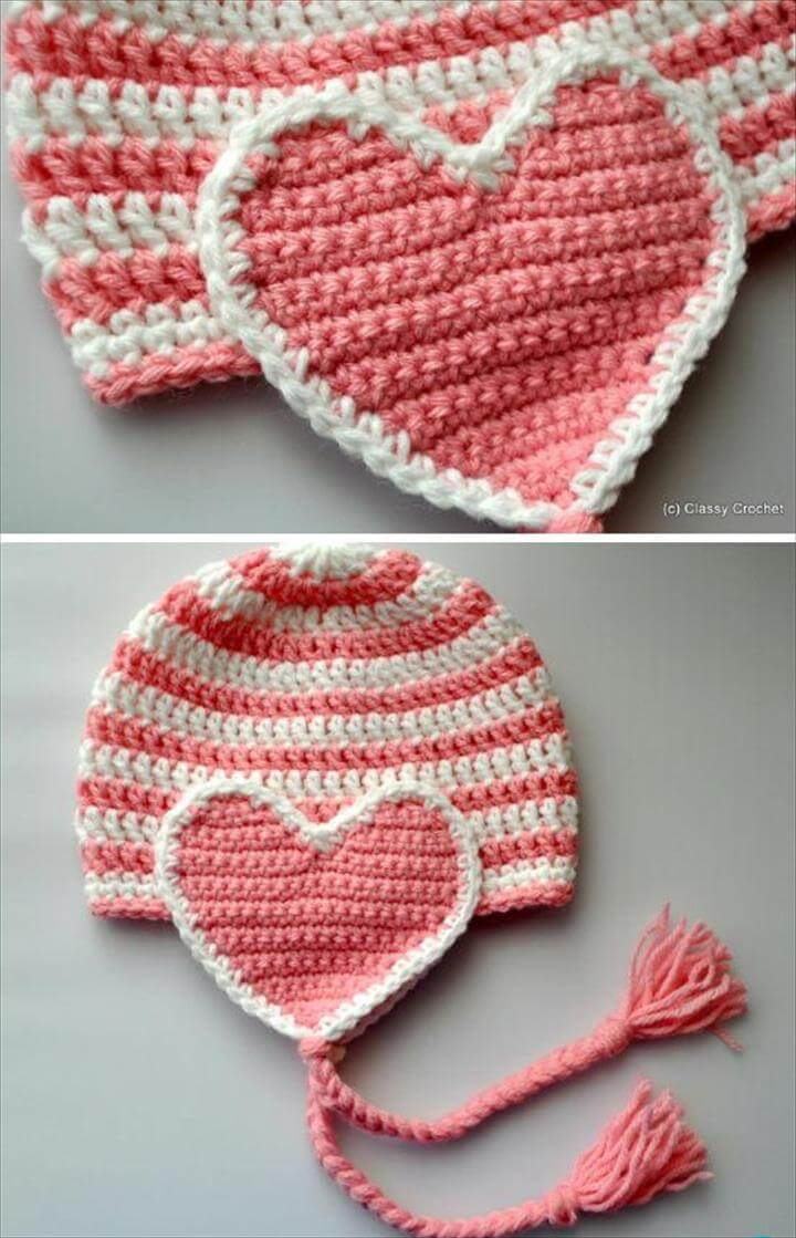Crochet Valentine Heart Earflap Hat Free Pattern - Crochet Valentine Heart Gift Ideas Free Patterns