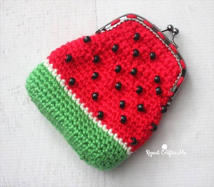 crochet watermelon coin purse
