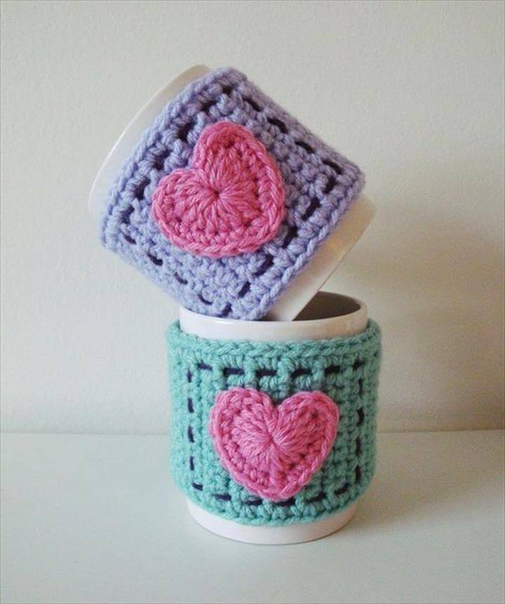 Crocheted heart mug cozy.