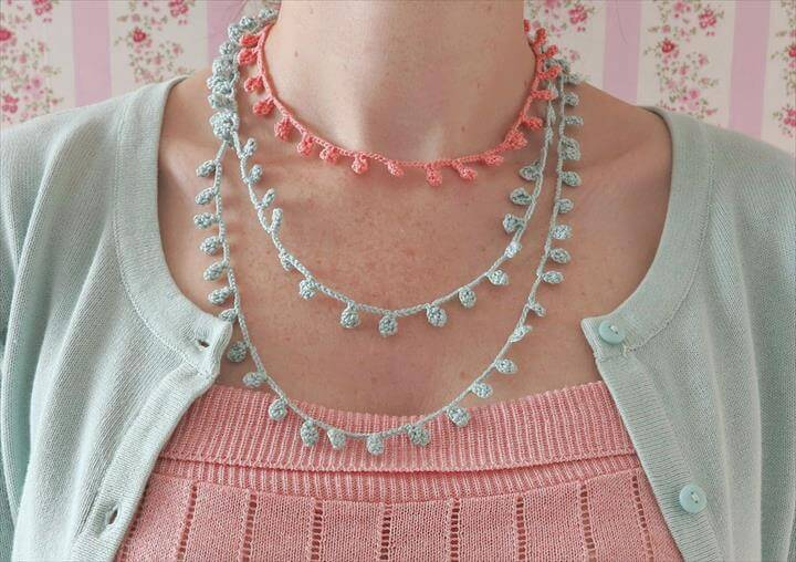 crochet, necklace, pastel