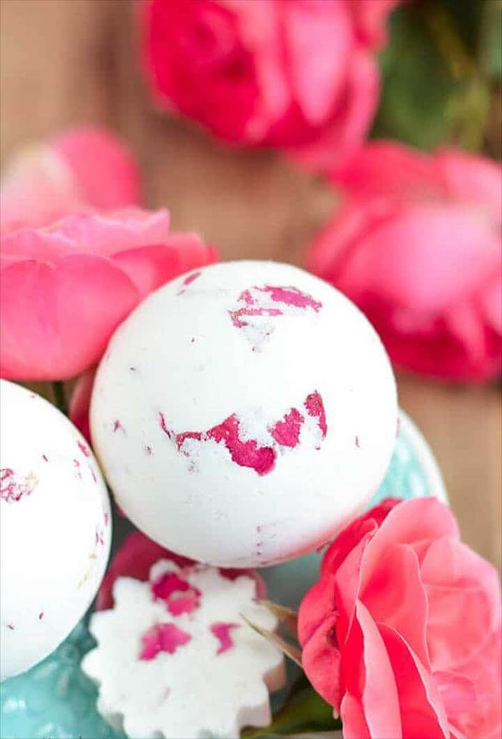 Rose & Milk Bath Bomb, DIY Bath Bombs & Homemade Bath Bomb Recipes, Bath