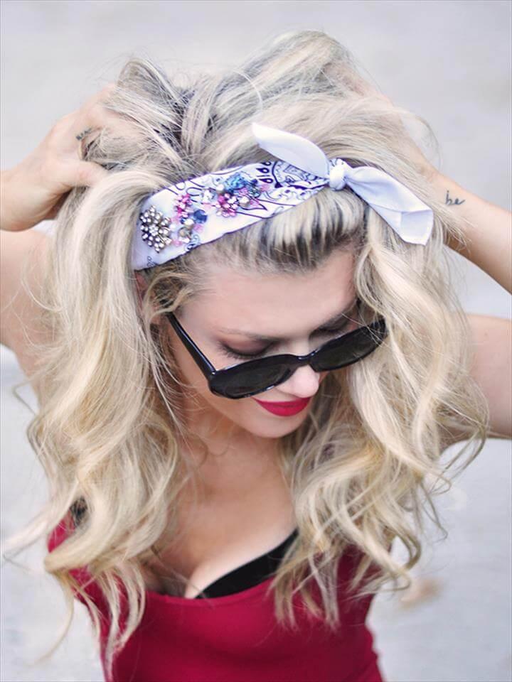 jeweled bandana hair accessory diy