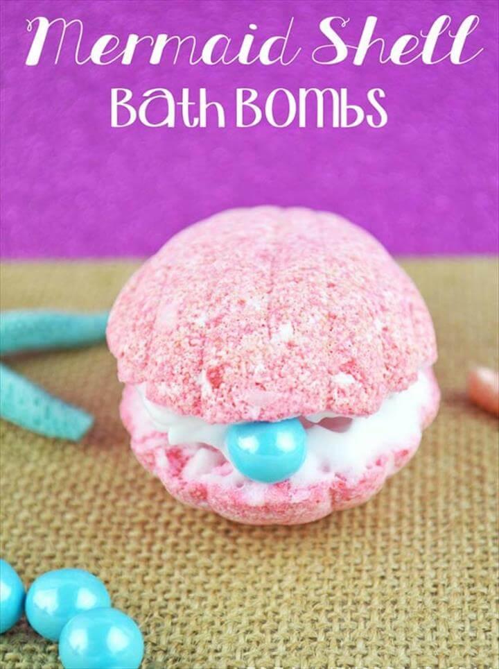 Fun DIY Projects for Women, Teens, and Girls, DIY Bath Bombs Recipe and Tutorials, Mermaid Shell Bath Bomb Like Lush