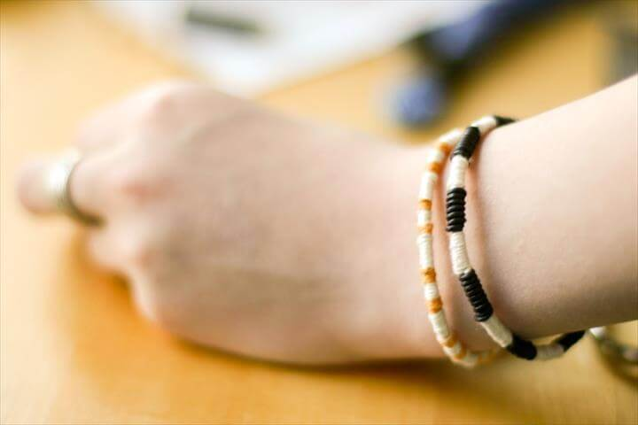 Leather + Thread Wrapped Bracelet