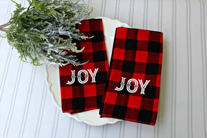 Easy DIY Red and Black Buffalo Check Cloth Bandana Napkins made with Chalk Couture Peace Joy