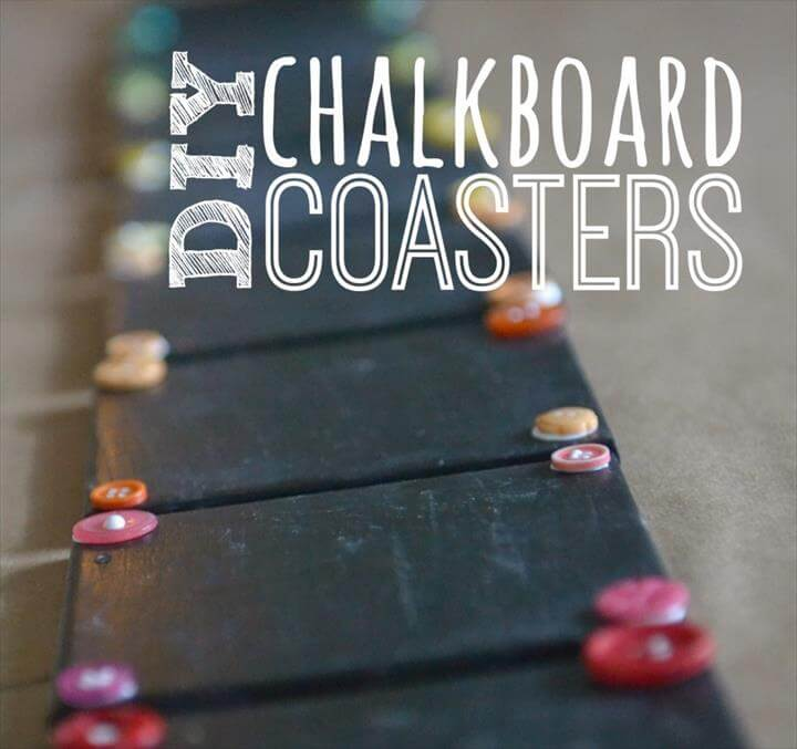 DIY Chalkboard Coaster Set, How to Make Chalkboard Coasters, Easy DIY Monogram Chalkboard Paint