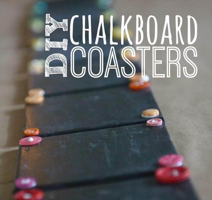 DIY Chalkboard Coaster Set, How to Make Chalkboard Coasters, Easy DIY Monogram Chalkboard Paint