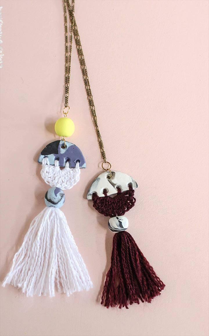 DIY Clay and Crochet Necklace Tutorial
