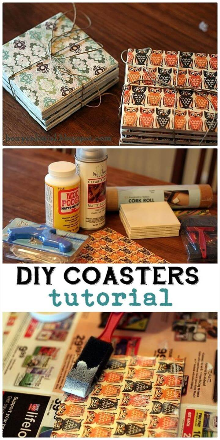 DIY Coasters, Inexpensive DIY Birthday Gift Ideas for Women