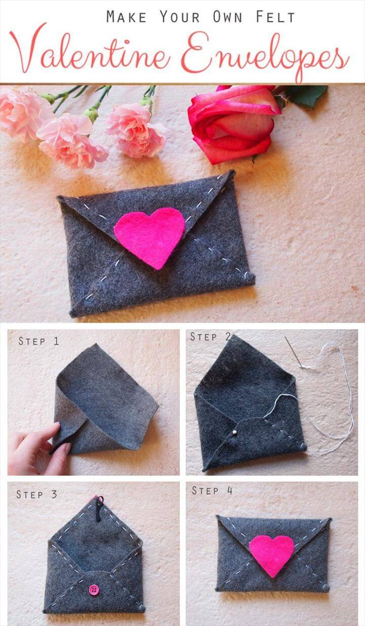 DIY felt heart envelope coin purse