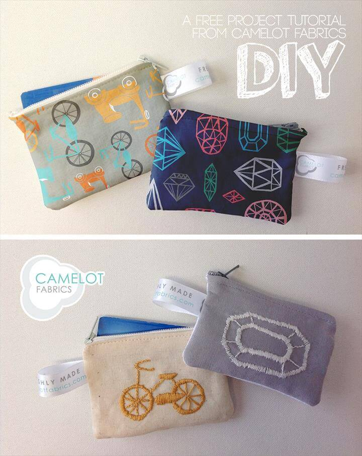 DIY Coin Purse to keep your cards & money // Camelot Fabrics // Allison Cole Fabrics