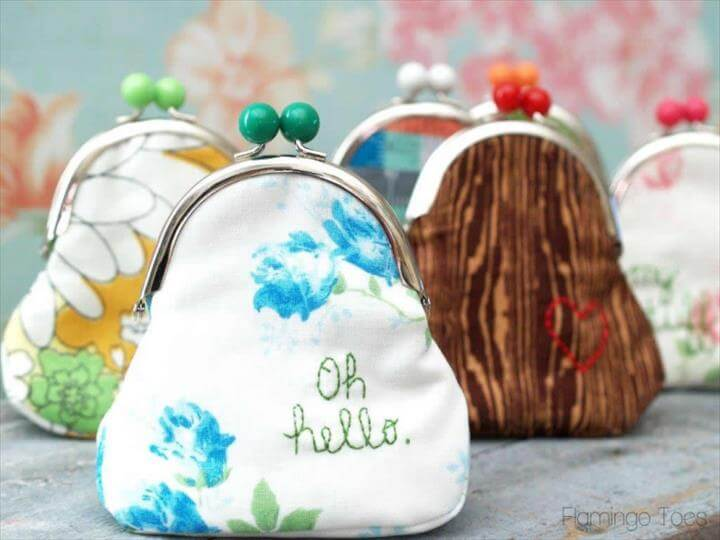 DIY Coin Purses, Quick and Easy Embroidered Coin Purse