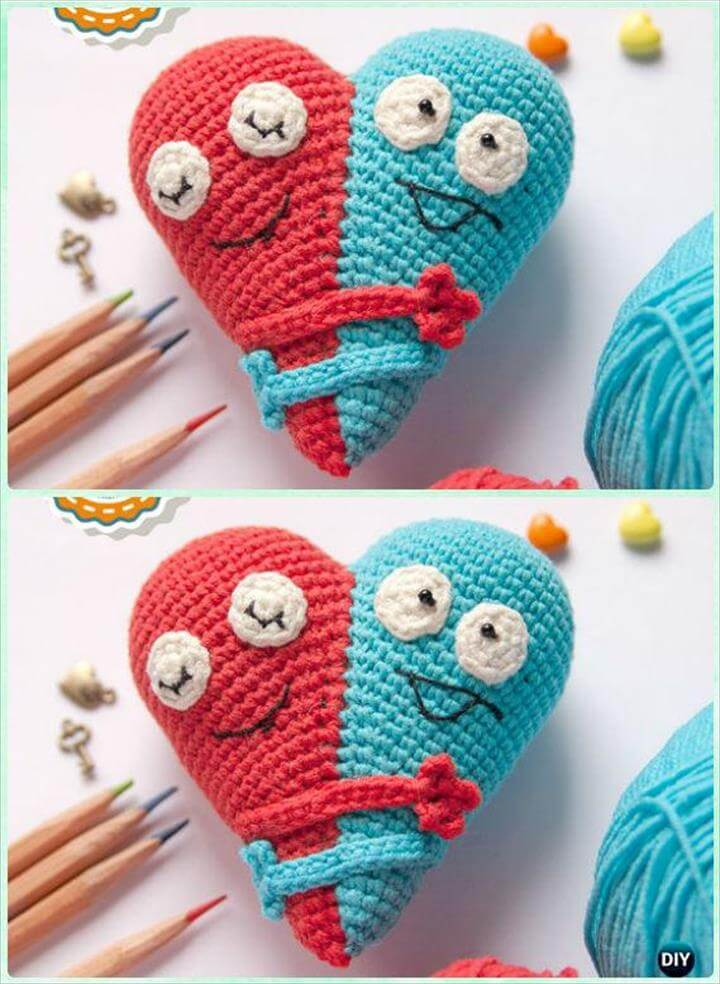 Crochet Double Heart Amigurumi Pattern- Crochet Heart Free Patterns