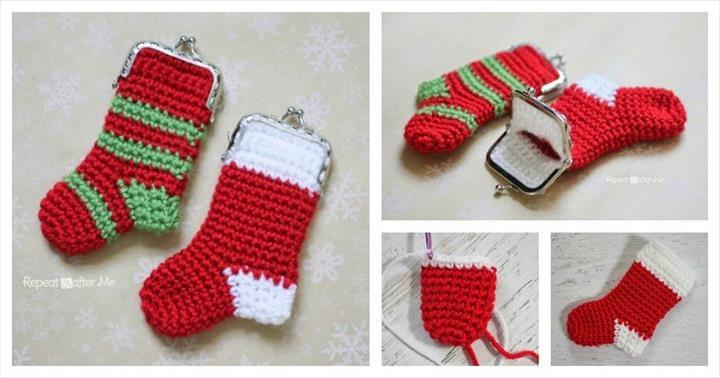 DIY Crochet Christmas Stocking Coin Purse.