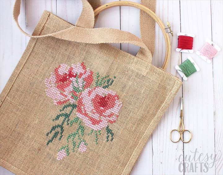 Free Cross stitch pattern, tote bag, storage