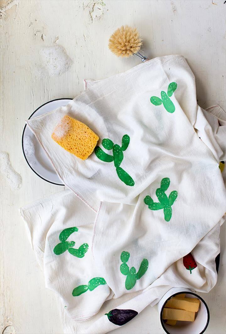Potato Stamp Tea Towels, Potato Stamp Cactus Print, DIY Mothers Day Gifts
