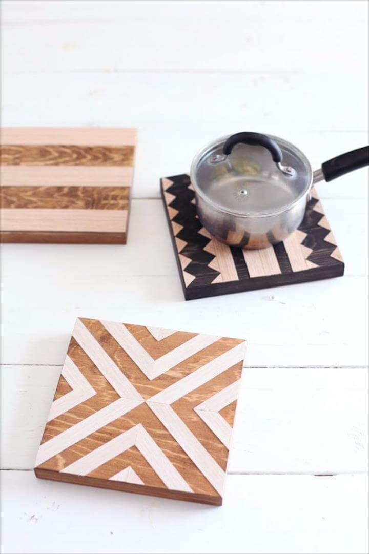 DIY Geometric Wood Trivets