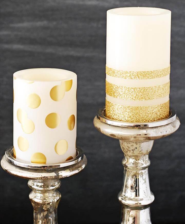 DIY Gold Candles, DIY gold glitter candles